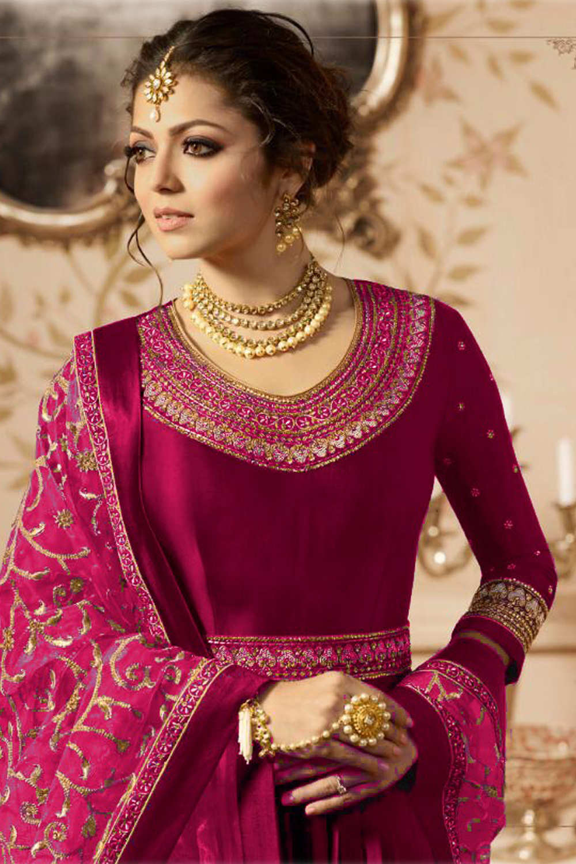 Designer Drashti Dhami Heavy Faux Georgette Pink Embroidered Suit
