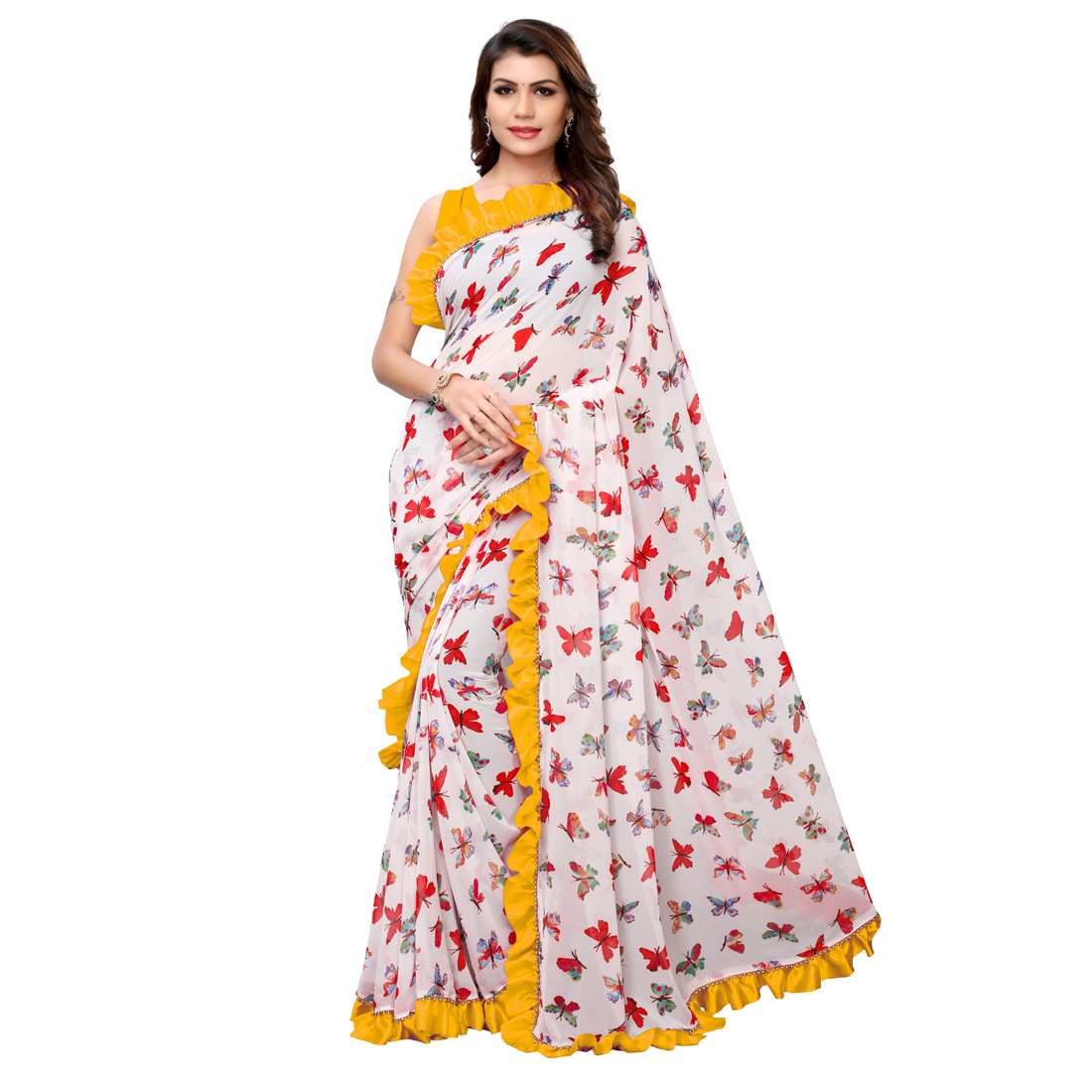 Desinger Blue And White Ruffle Georgette Printed Saree 2019