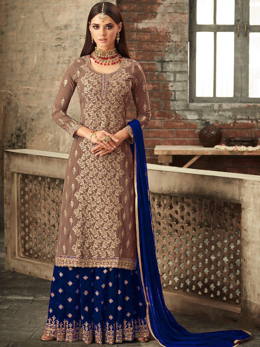 New Blue Sarara Faux Georgette With Stone Work Embroidered Suit