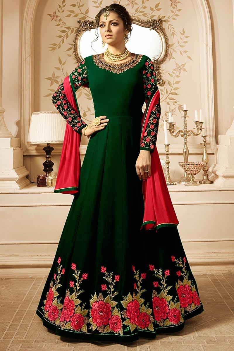 Drashti Dhami Beautiful Lt Design Green Color Embroidered Suit