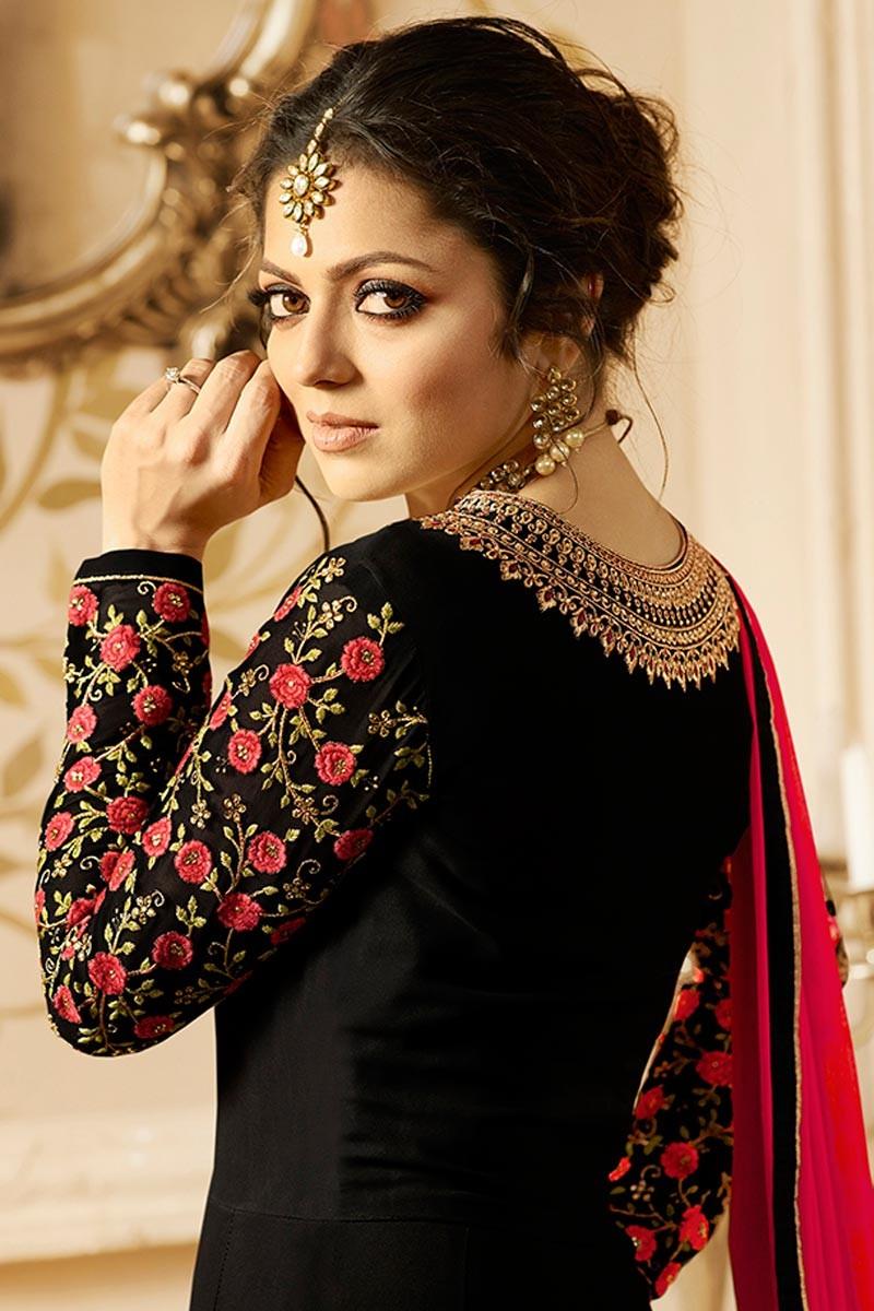 Drashti Dhami Beautiful Lt Design Black Color Embroidered Suit