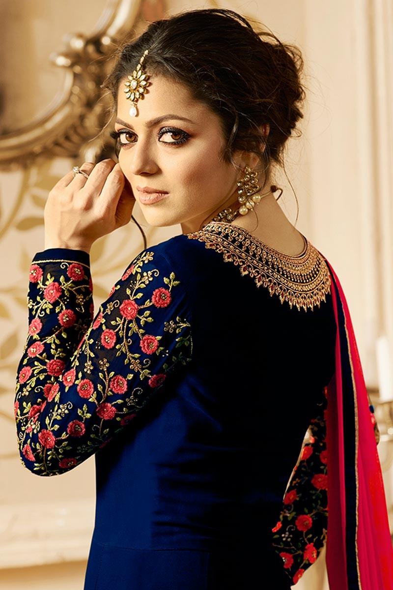 Drashti Dhami Beautiful Lt Design Blue Color Embroidered Suit