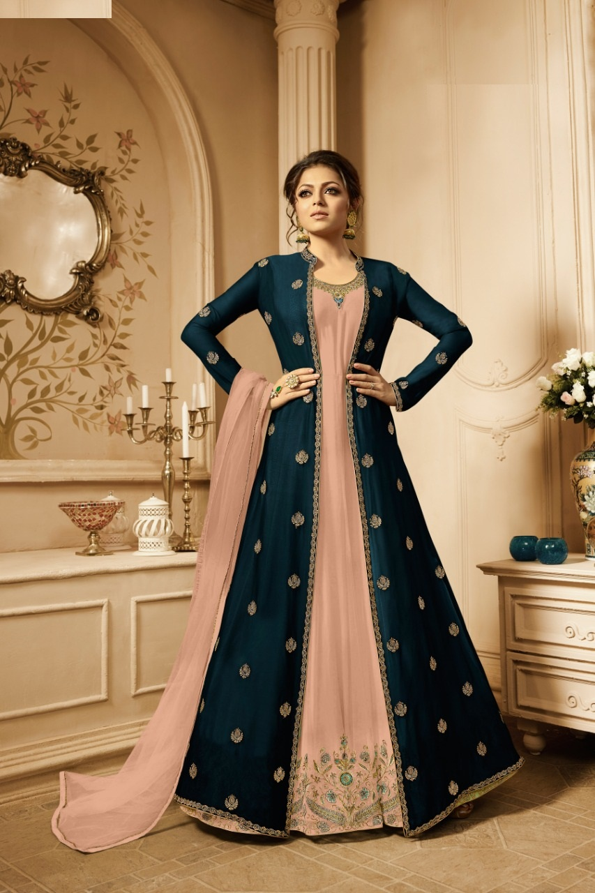 Designer Ner Diamond Peach Suit With Koti