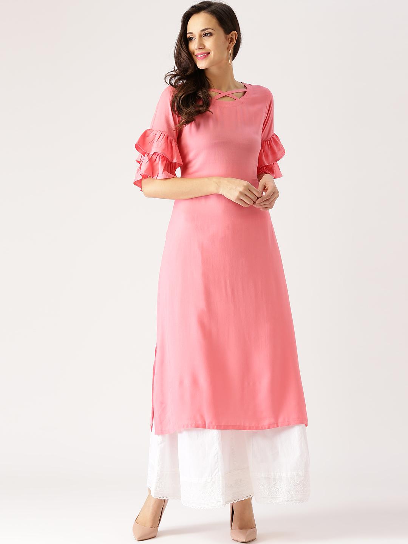New Designer Pink Long Kurti Back