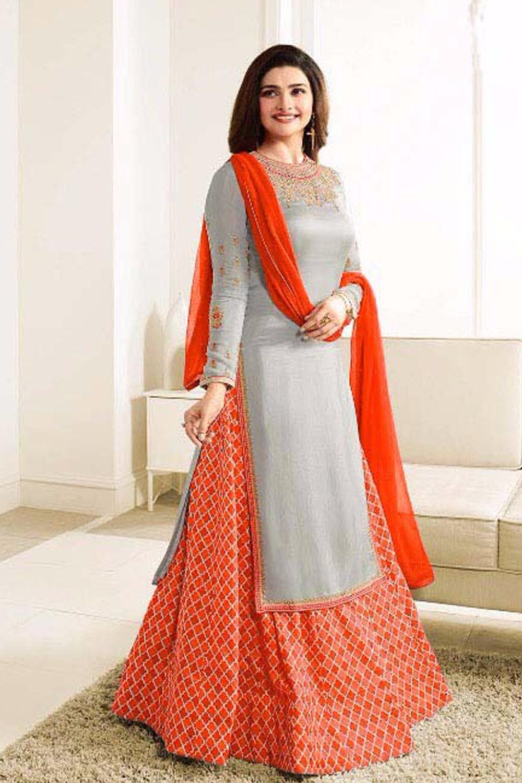 Prachi Desai New Designer Gray And Orange Lehenga Suit