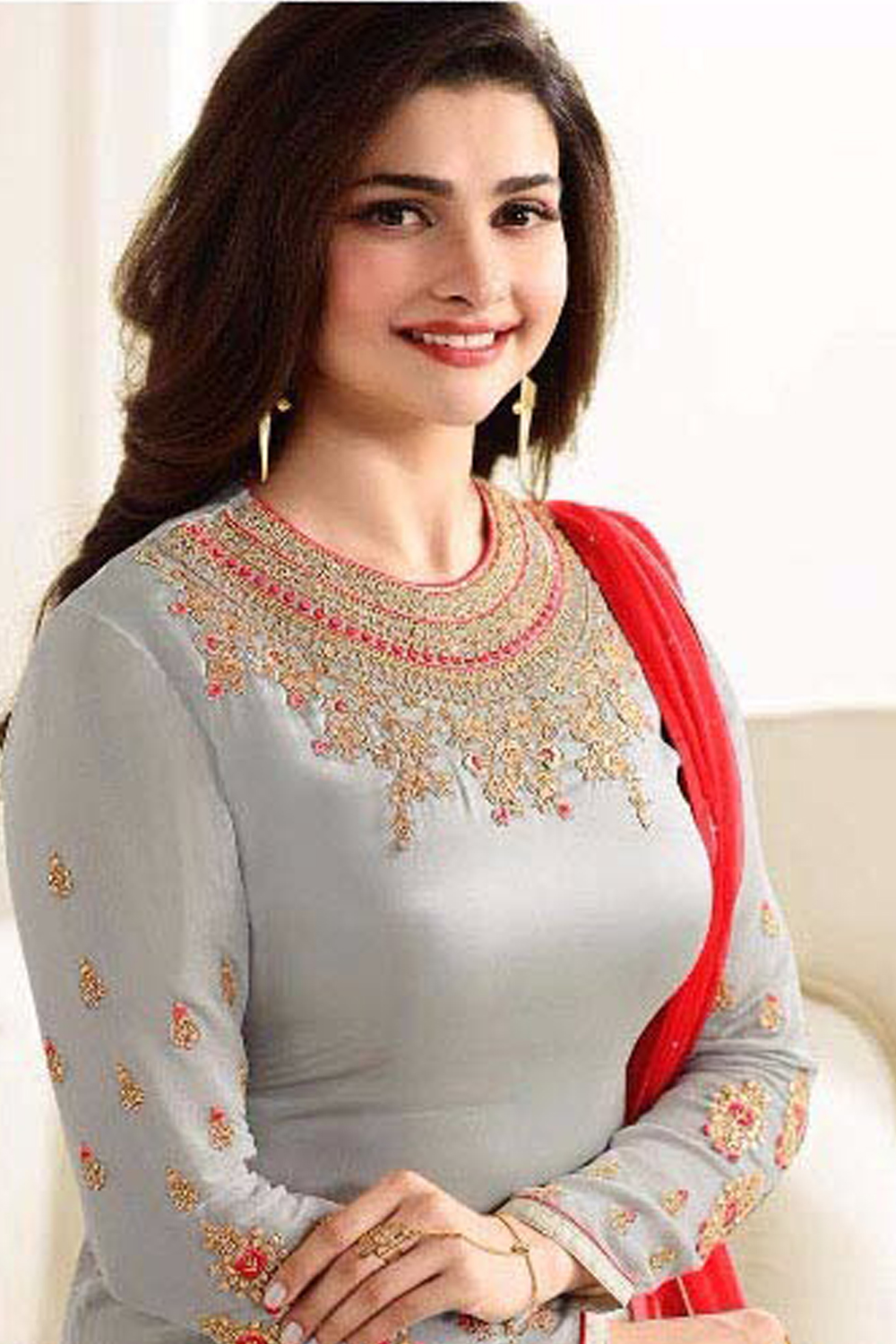 Prachi Desai New Designer Grey And Red Lehenga Suit