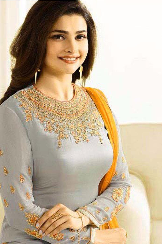 Prachi Desai New Designer Grey And Yellow Lehenga Suit