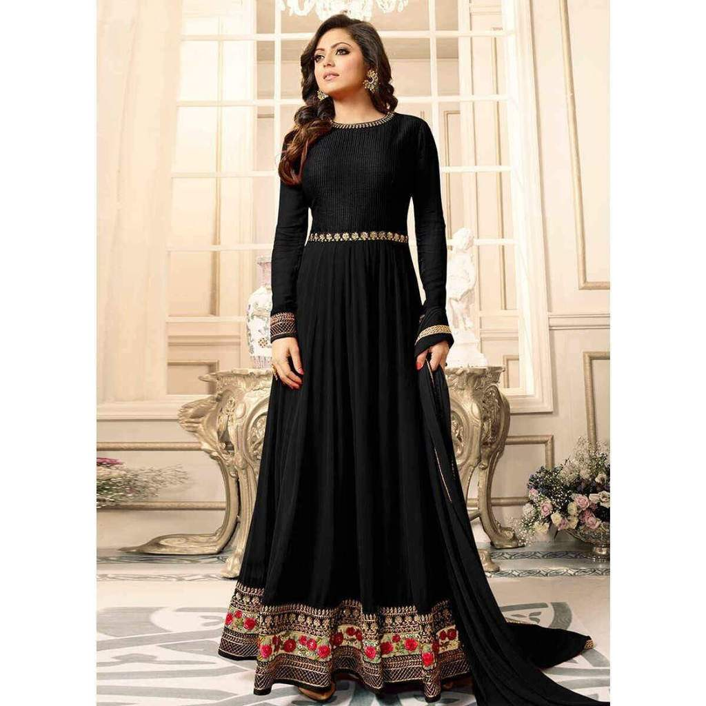 Black With Floral Embroidery Anarkali Suit