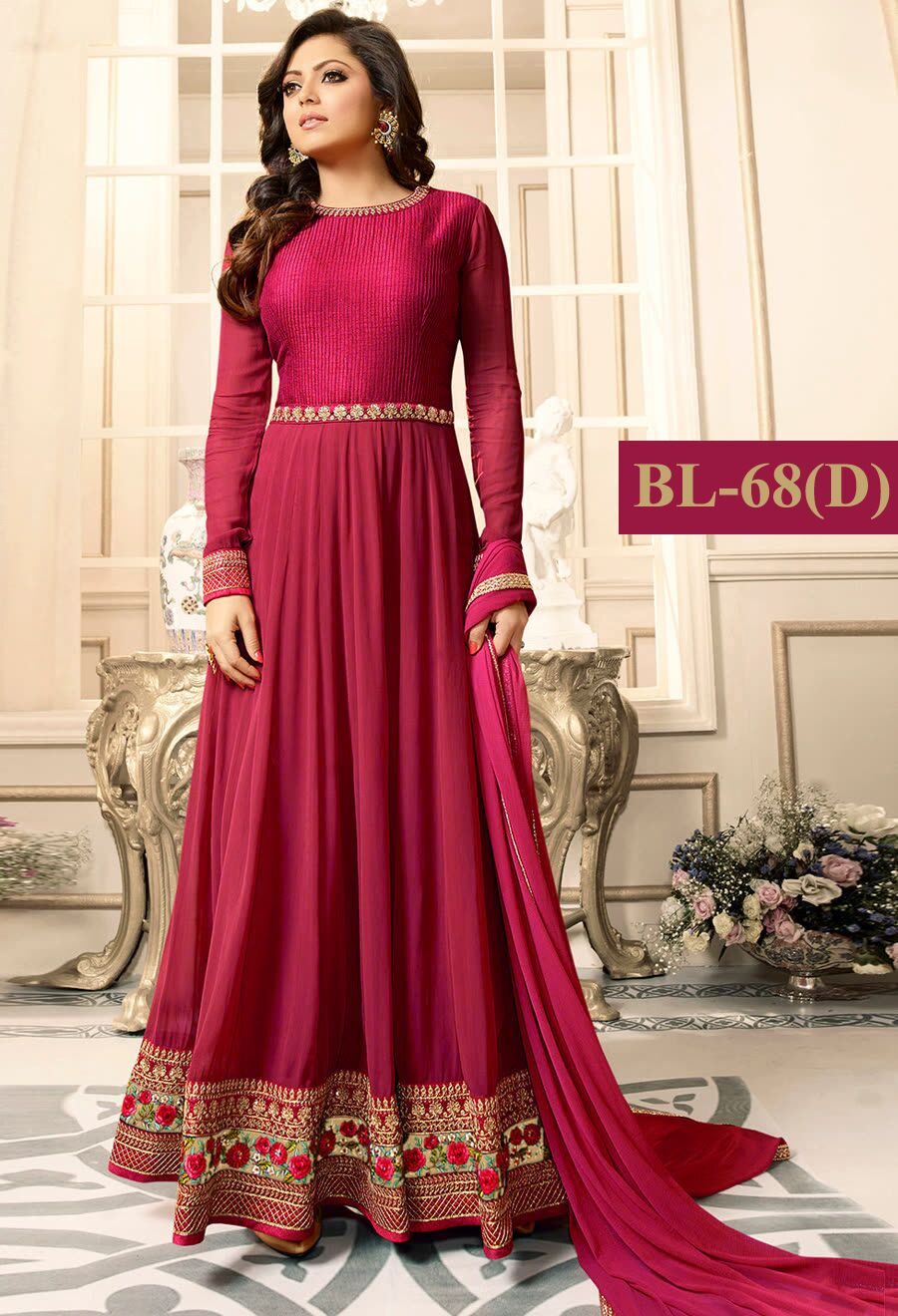 Drashti Dhami pink With Floral Embroidery Anarkali Suit