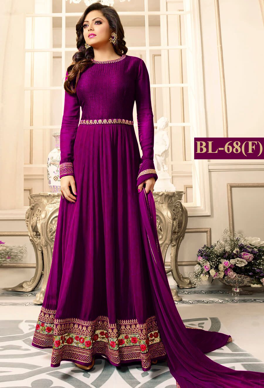 Purple With Floral Embroidery Anarkali Suit