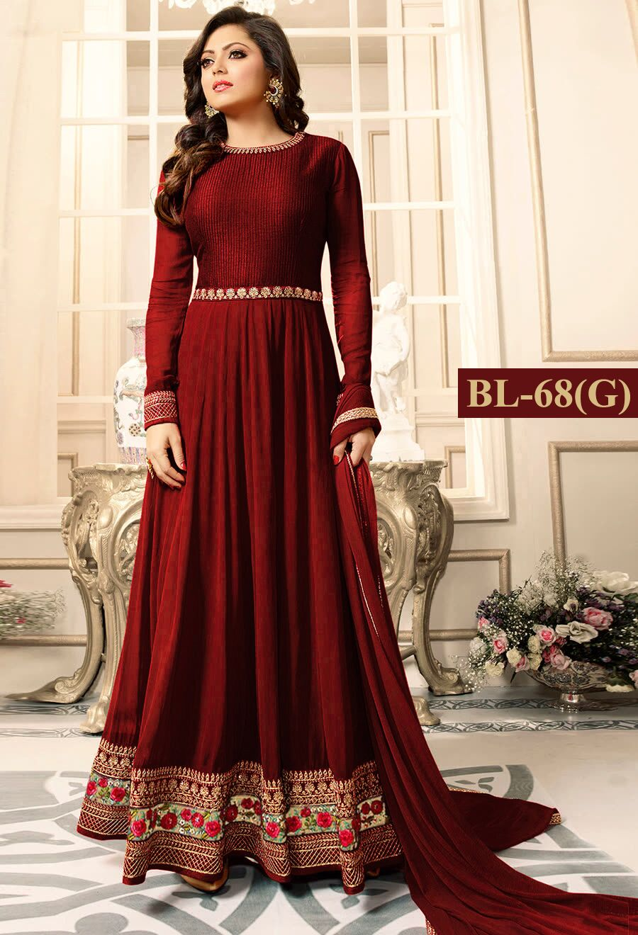 Drashti Dhami Maroon With Floral Embroidery Anarkali Suit