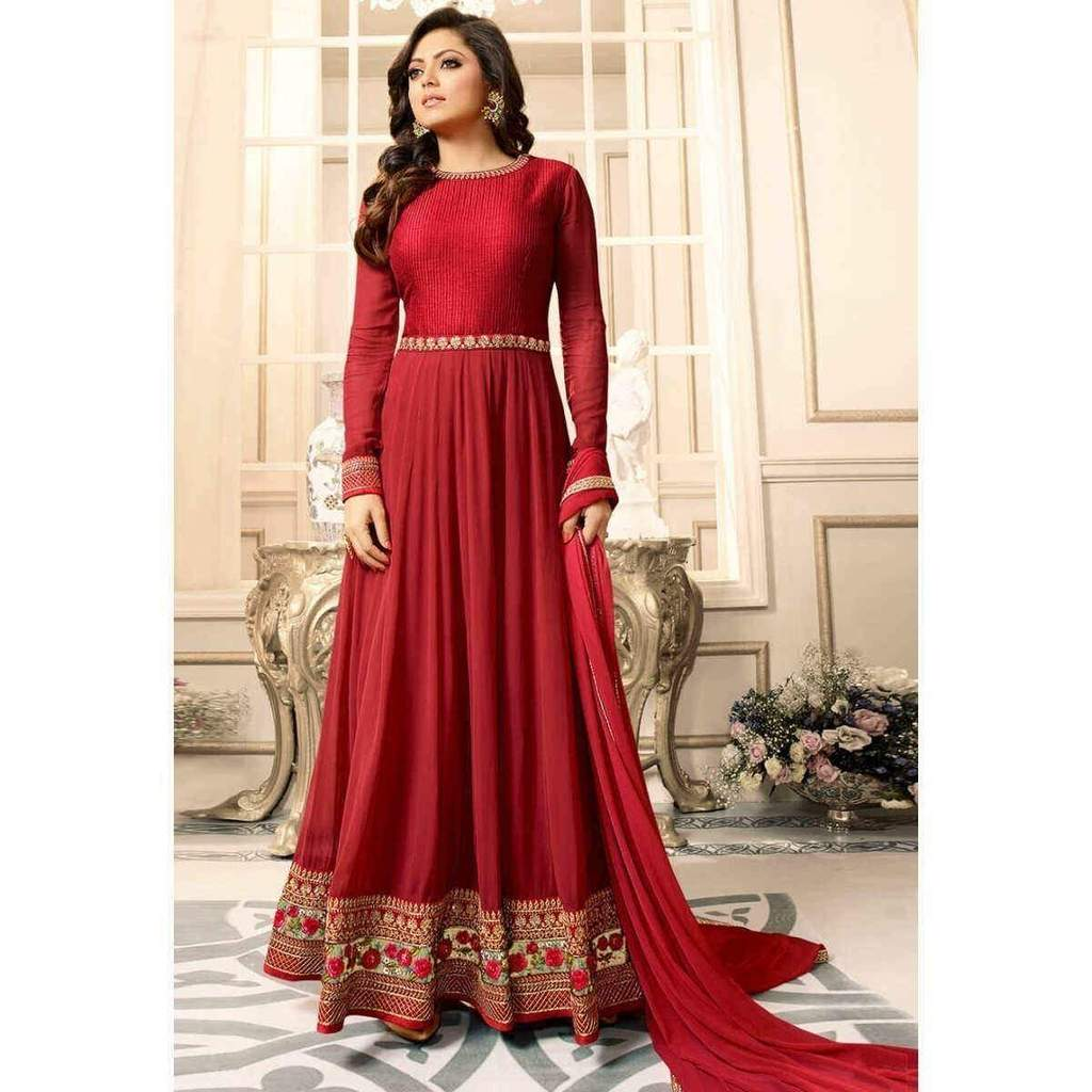 Drashti Dhami Red With Floral Embroidery Anarkali Suit