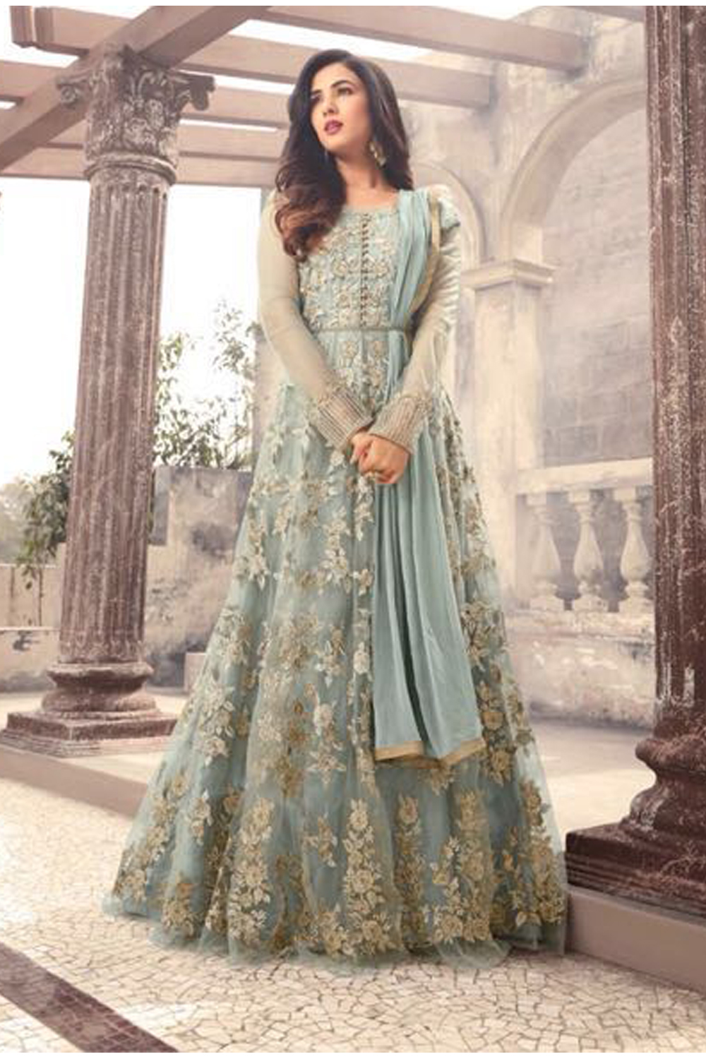 Sonal Chauhan Designer Gray Color Long Gown With Fancy Work