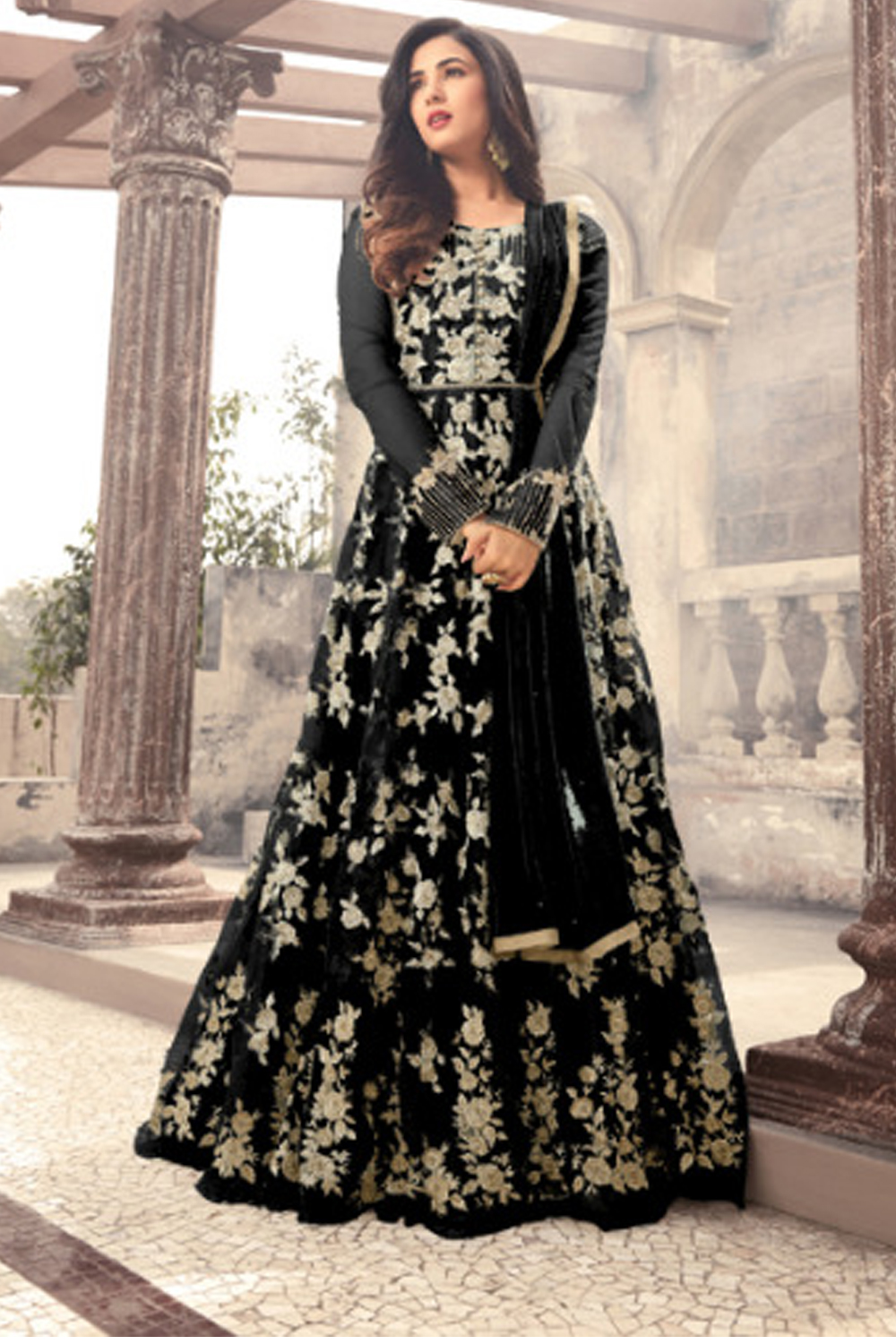 Sonal  Chauhan Designer Black Color Long  Gown With Fany Work