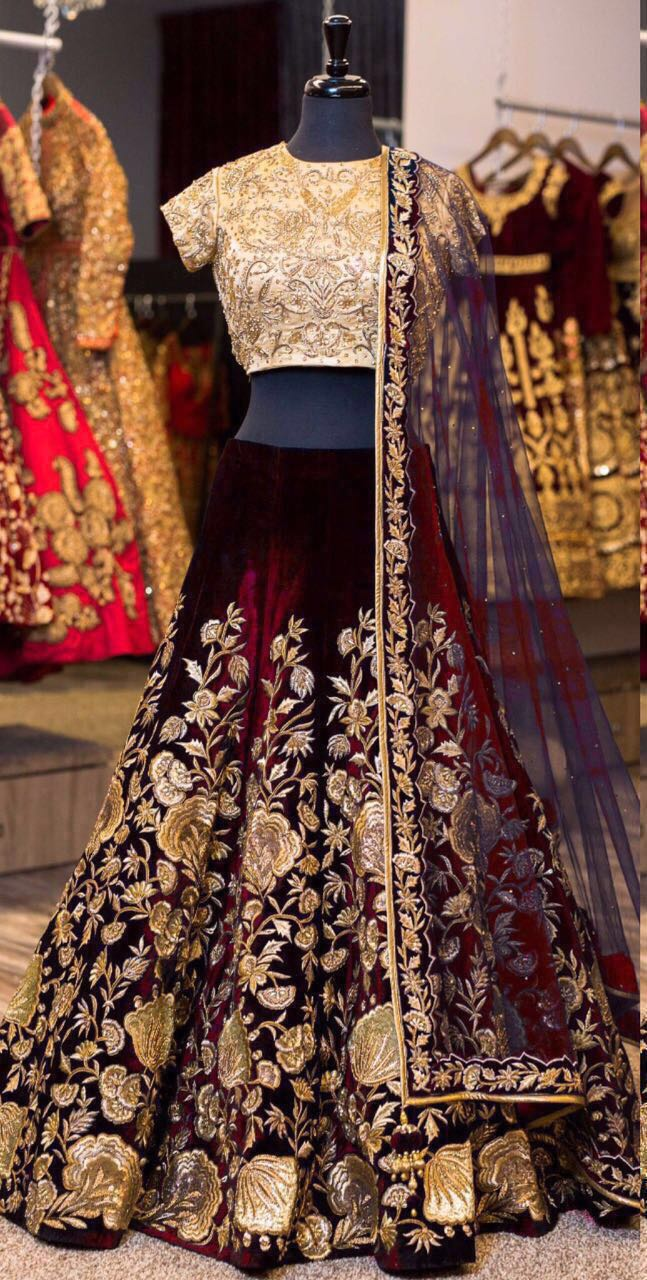 Designer Bollywood Style Maroon Velvet Embroidery Work Semi-Stitched Lehenga Choli