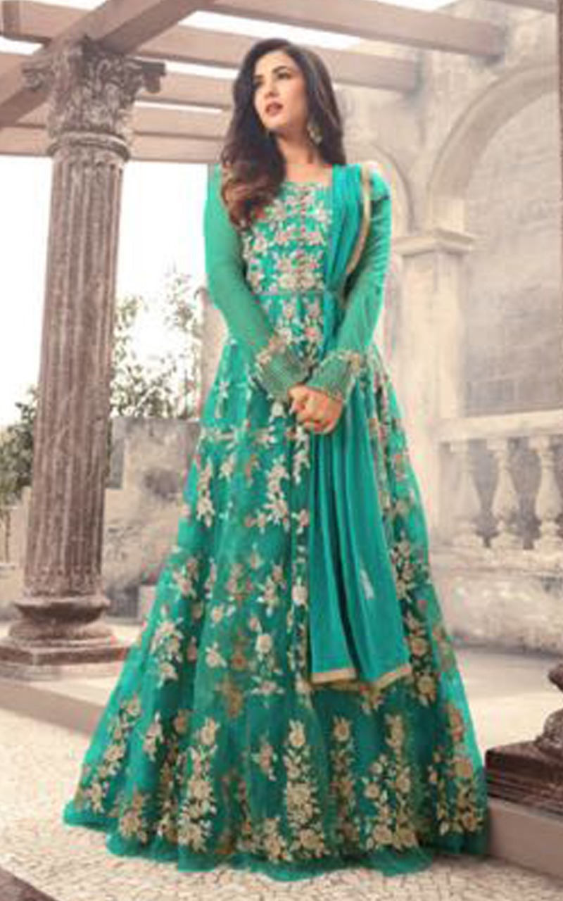 Sonal Chauhan Designer Green Color Long Gown With Fancy Work