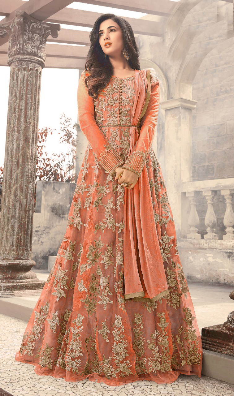 Designer Orange Color Long  Gown With Fancy Work