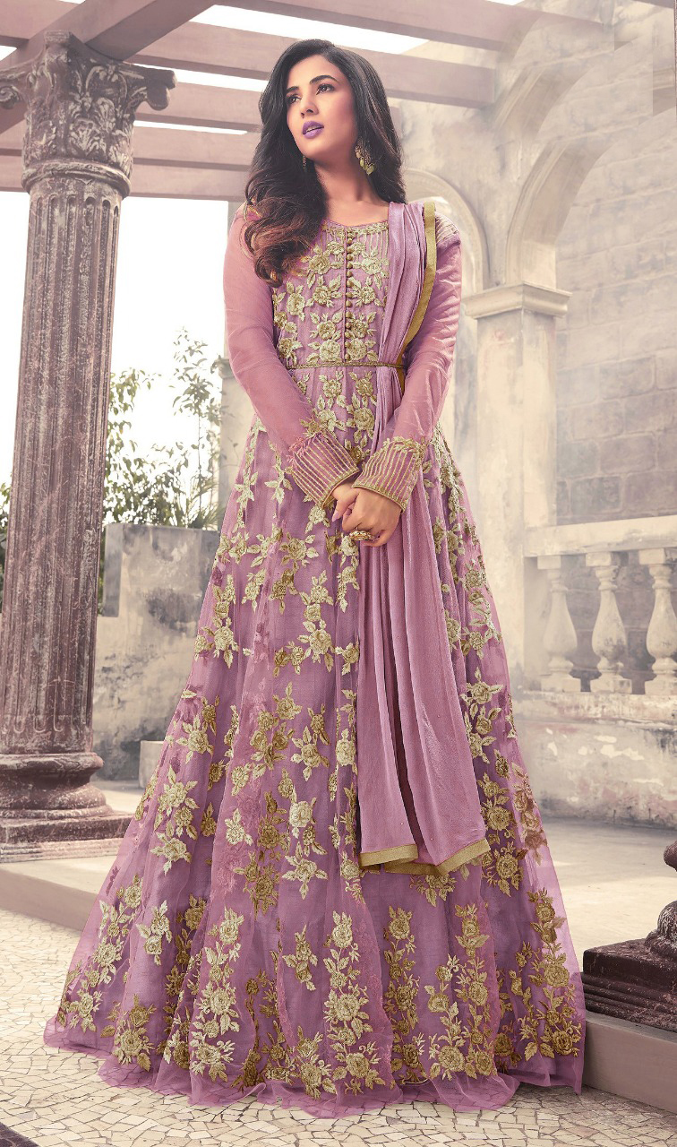 Designer Purple Color Long Gown With Fancy Work