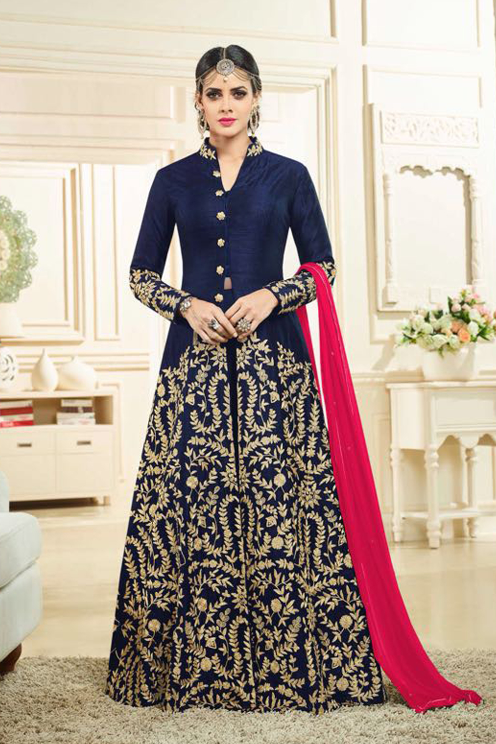 Designer Blue Color Heavy Banglory Silk Satin Embroidered Suit