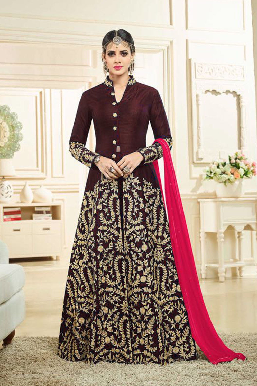 Designer Brown Color Heavy Banglory Silk Satin Embroidered Suit