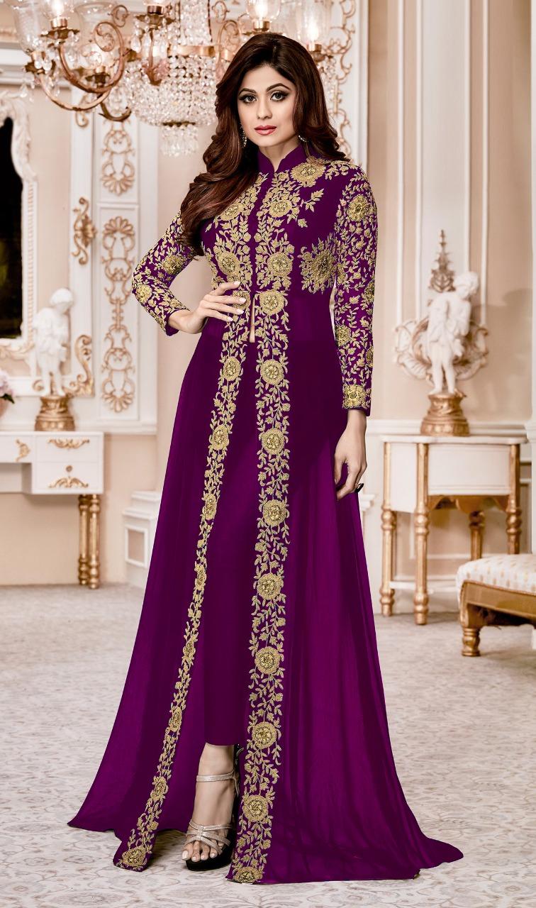 Shamita Shetty Purple Heavy Designer Suit