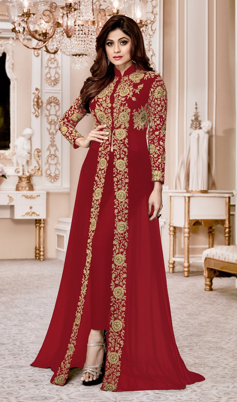 Shamita  Shetty Red Heavy Designer Suit