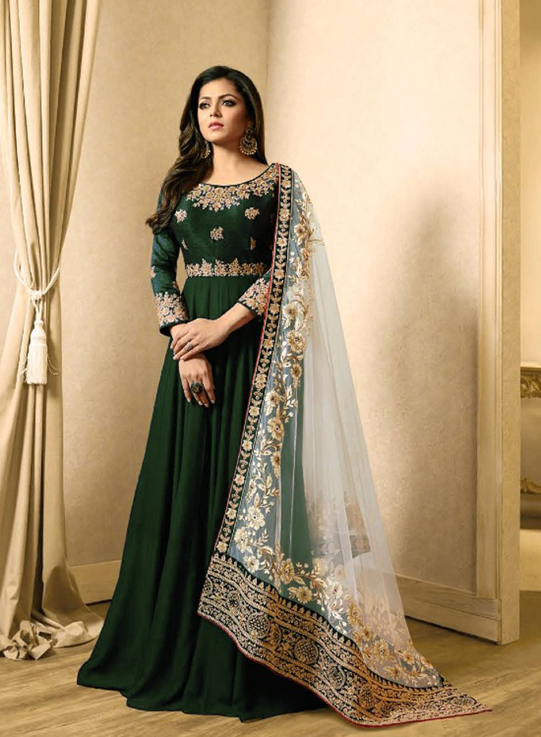 Drashti Dhami Style Green Gown Suits
