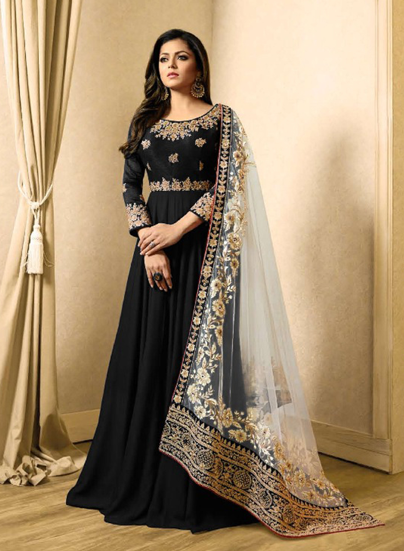 Drashti Dhami Style Black Gown Suits