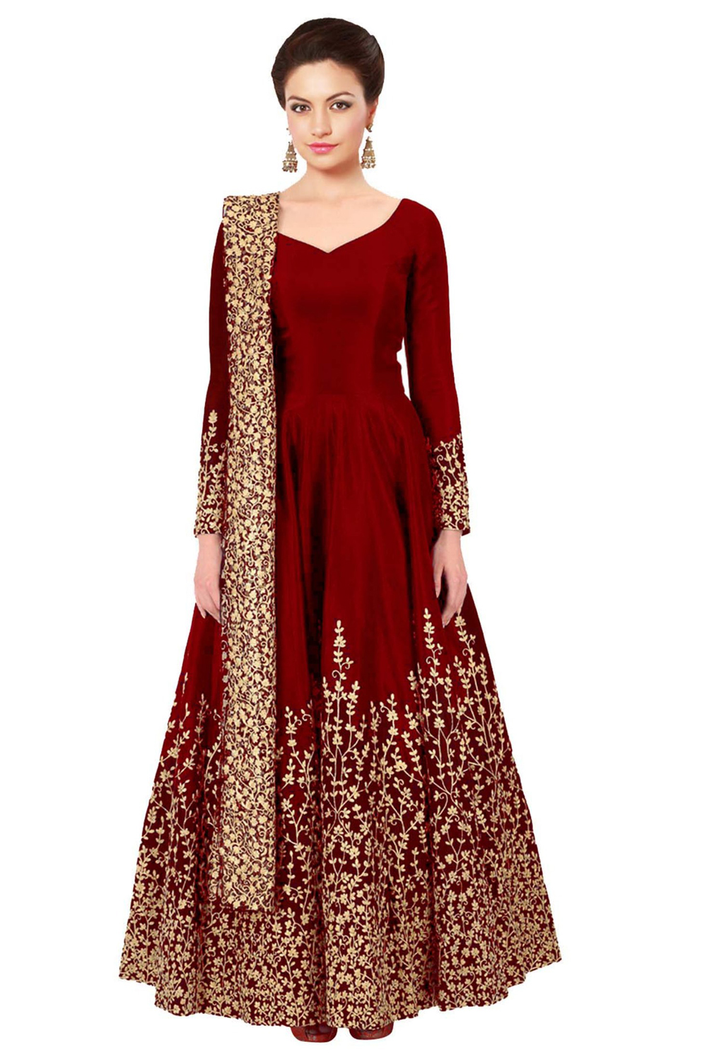 New Red Long Embroidered Semi Stitched Designer Anarkali Suit