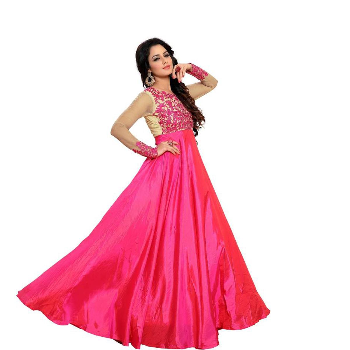 Designer Pink Silk Embroidered Semi Stitched Long Anarkali Suit