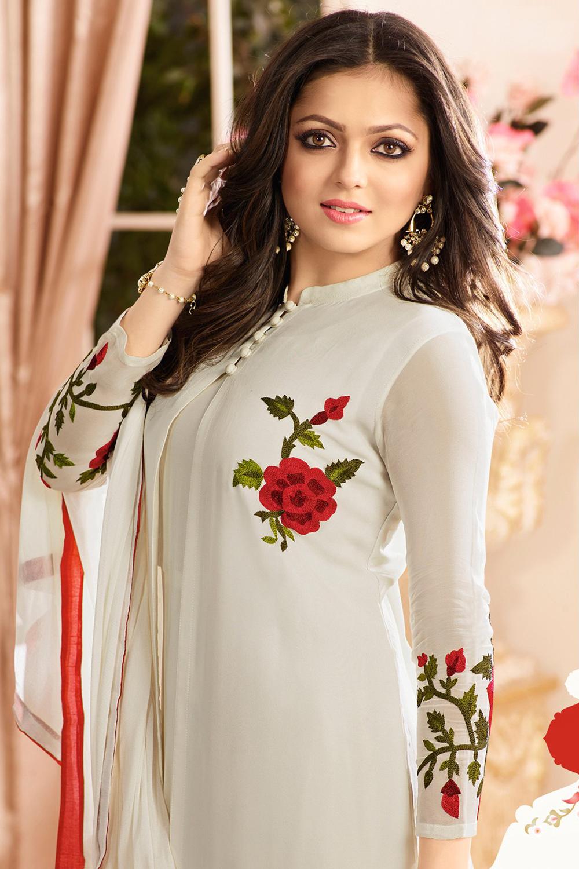 Drashti Dhami Designer Faux Georgette Off White Anarkali Suit