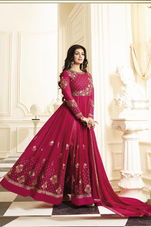 Ayesha Takia Designer Georgette Pink Embroidered Semi Stitched Long Anarkali Suit
