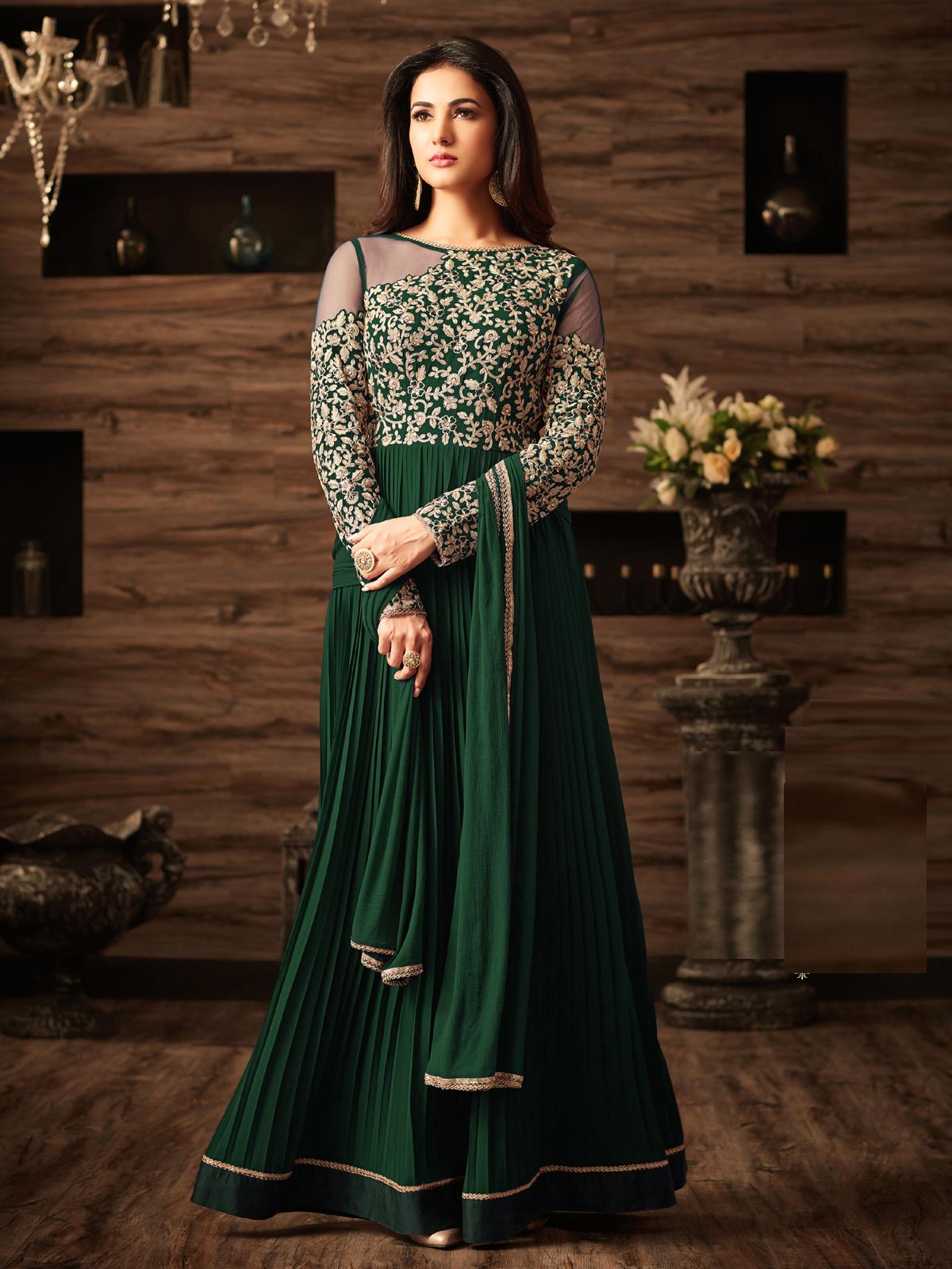 sonal chauhan Designer Green Faux Georgette Festive Wear Anarkali Salwar Kameez