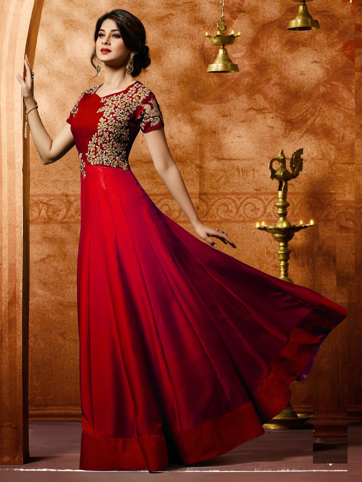 jennifer winget Bollywood Red Designer Silk Anarkali Salwar Suit With Dupatta