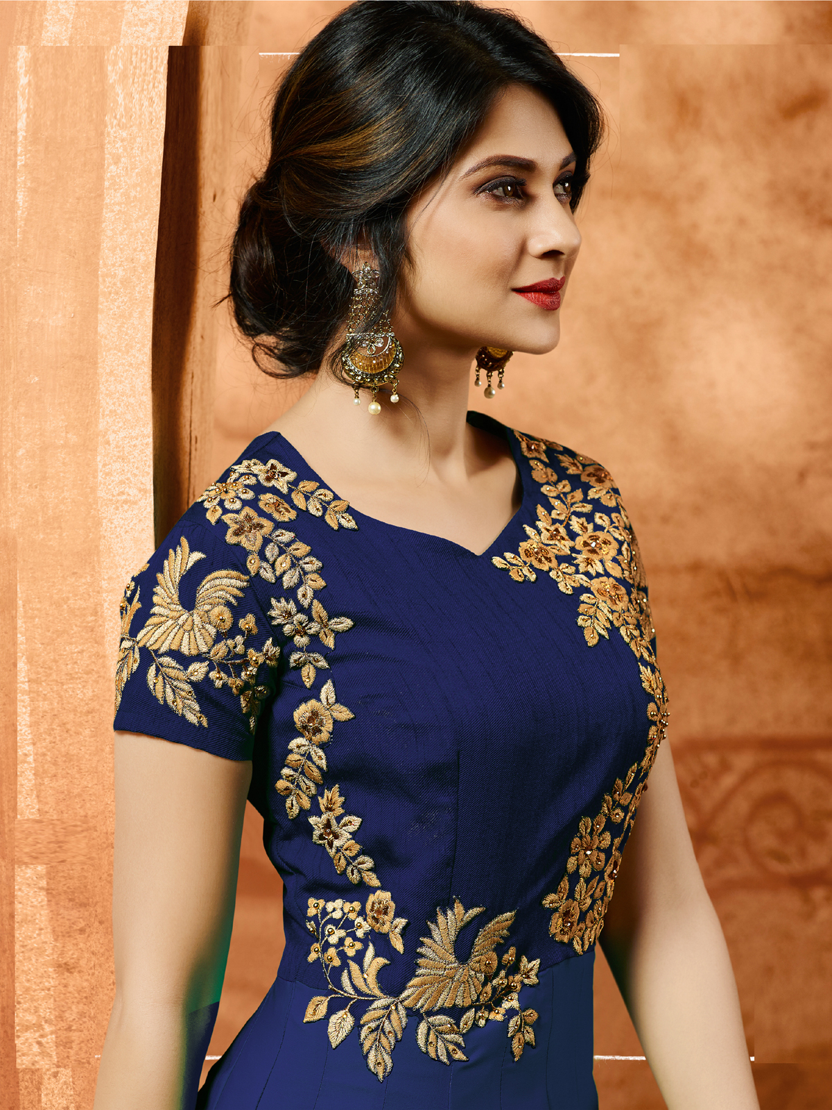 jennifer winget Bollywood Designer Blue Silk Anarkali Salwar Suit With Dupatta