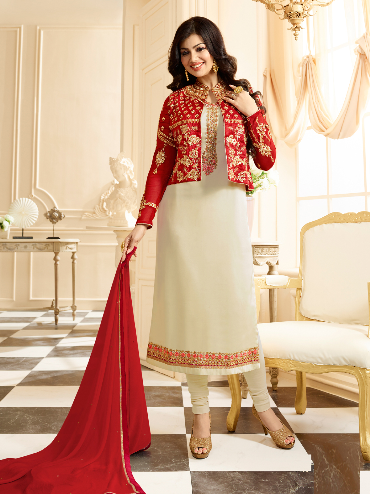 Ayesha Takia Cream Color Georgette Fabric Fancy Party Wear Embellished Dress