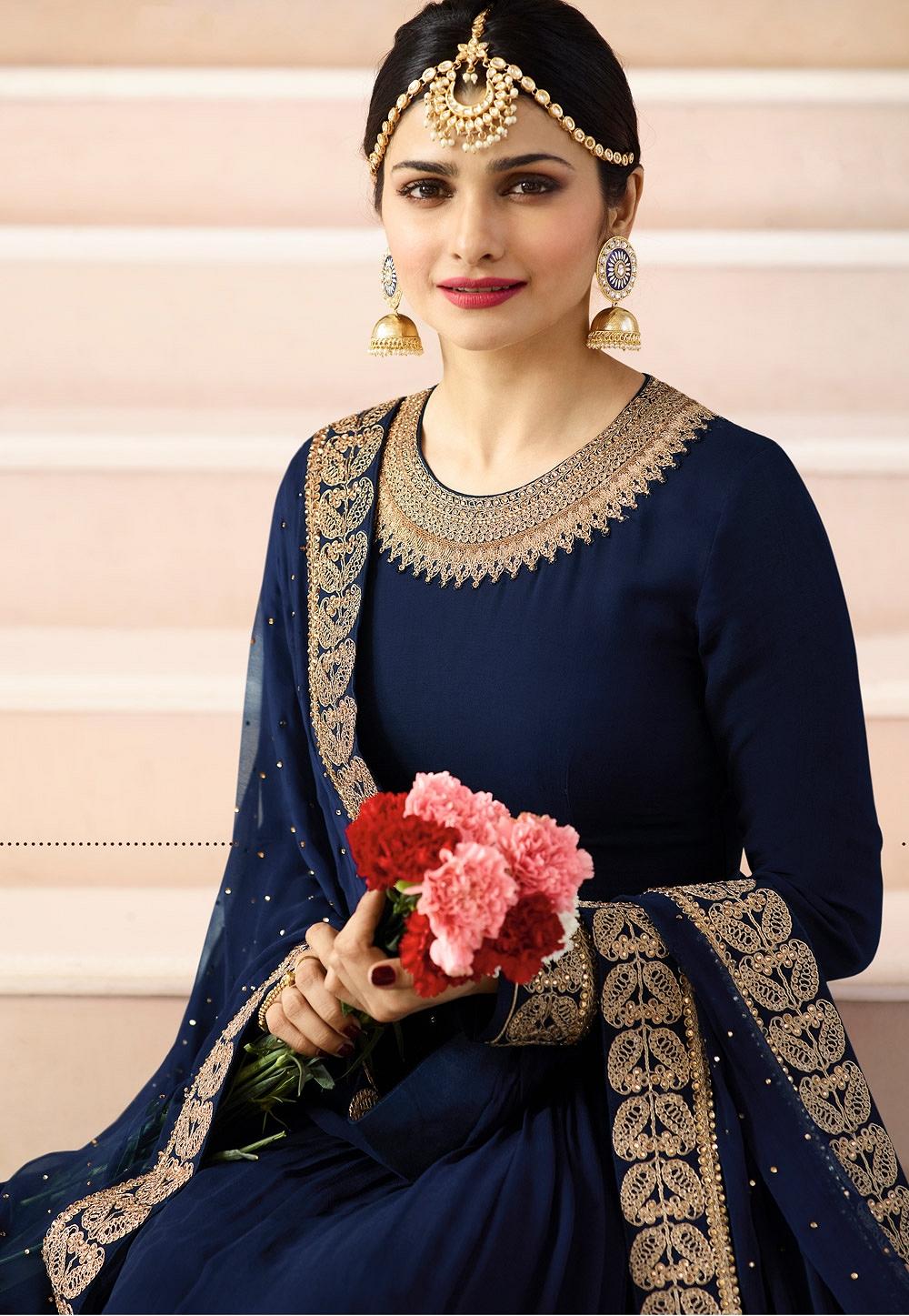Prachi Desai Blue Embroidered Anarkali Suit