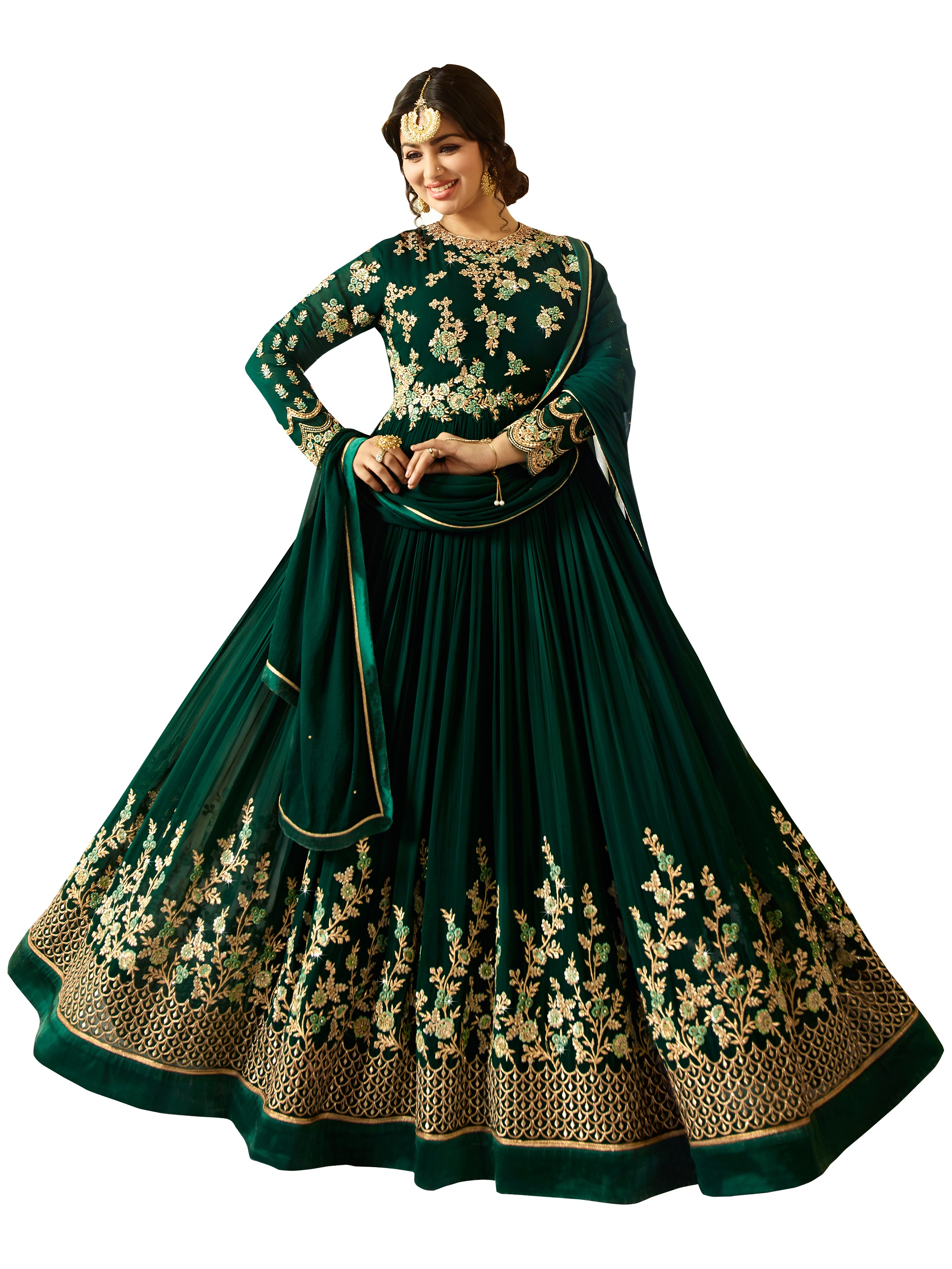 Ayesha Takia Designer Faux Georgette Green Heavy Embroidered Salwar Suit