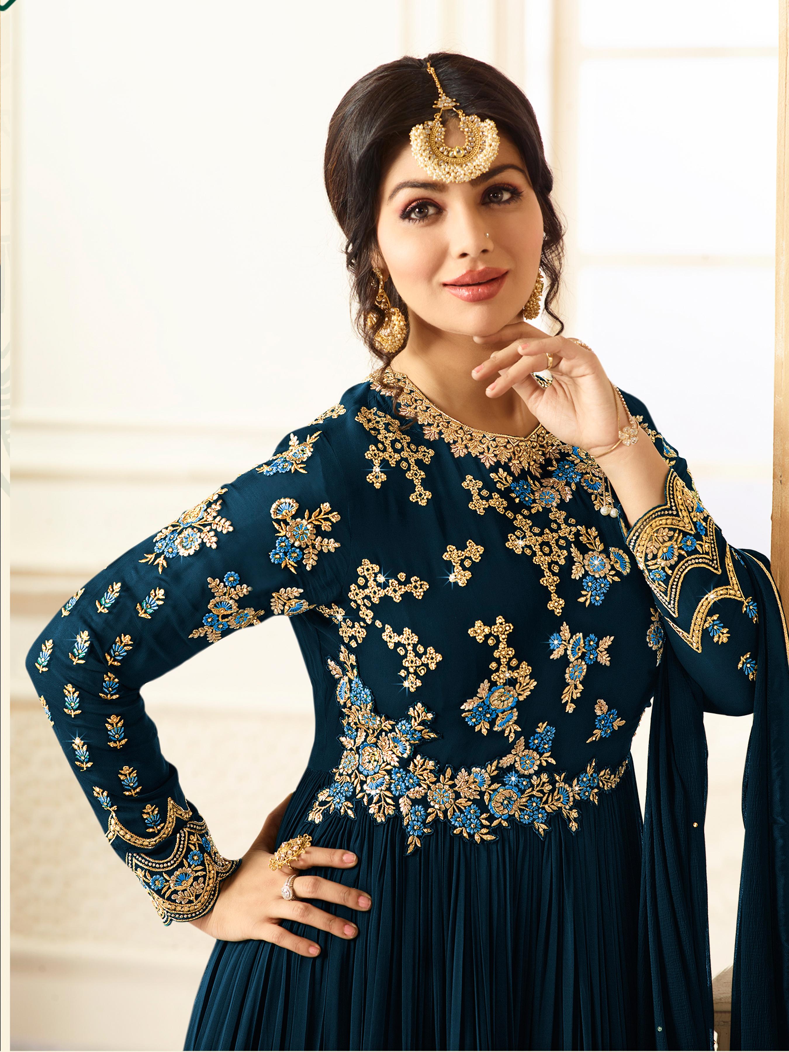 Ayesha Takia Designer Faux Georgette Navy Blue Heavy Embroidered Salwar Suit