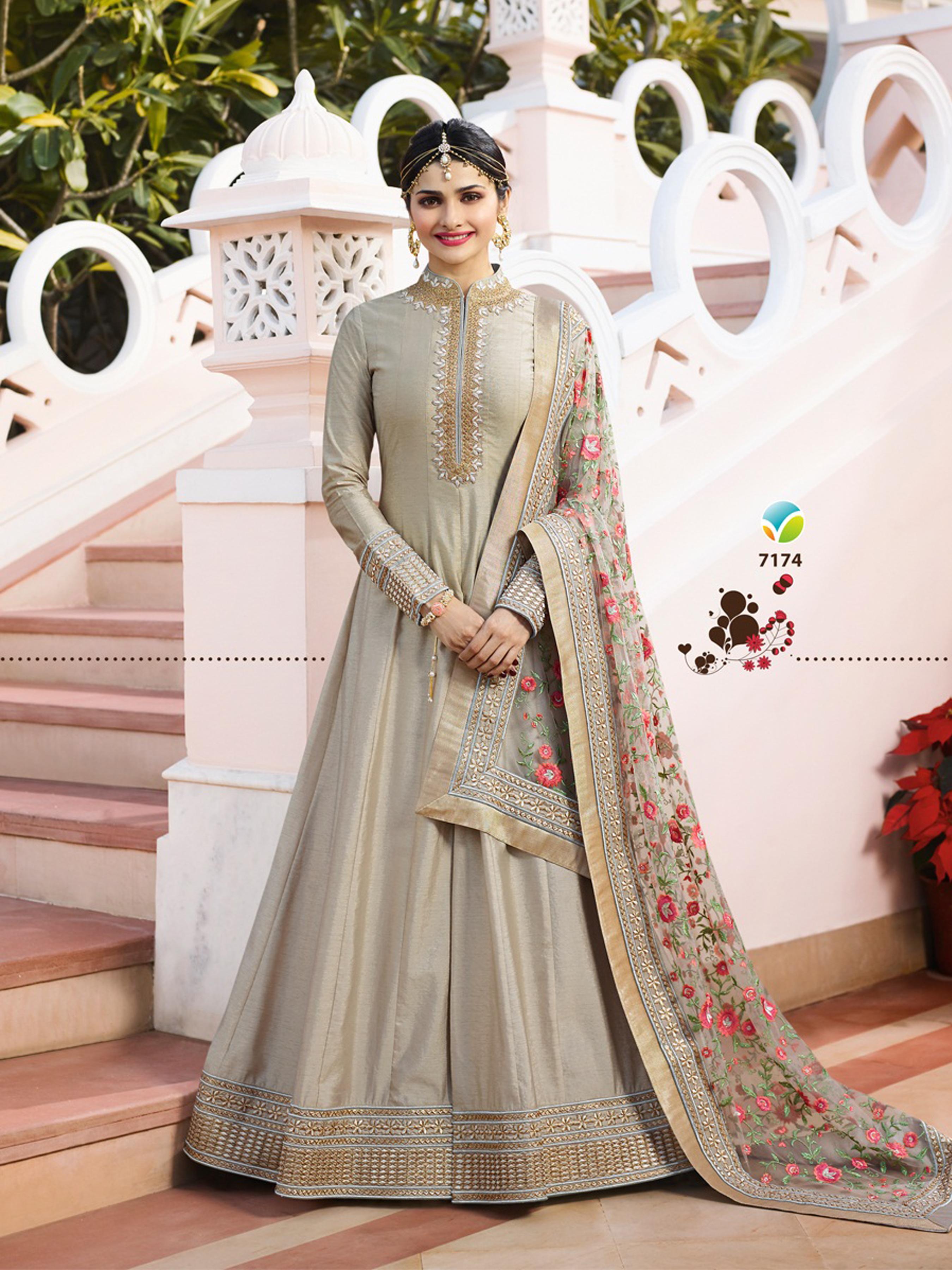 Prachi Desai designer Chennai Silk Gray Heavy Embroidered Salwar Suit