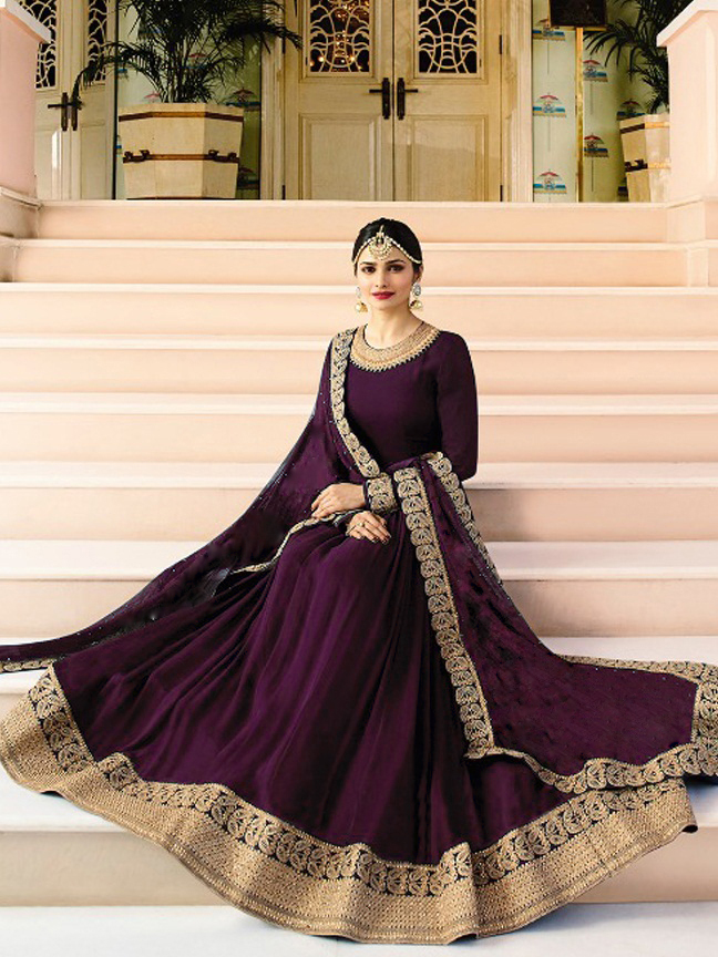 Prachi DesaiDesigner Faux Georgette Purple Heavy Embroidered Salwar Suit