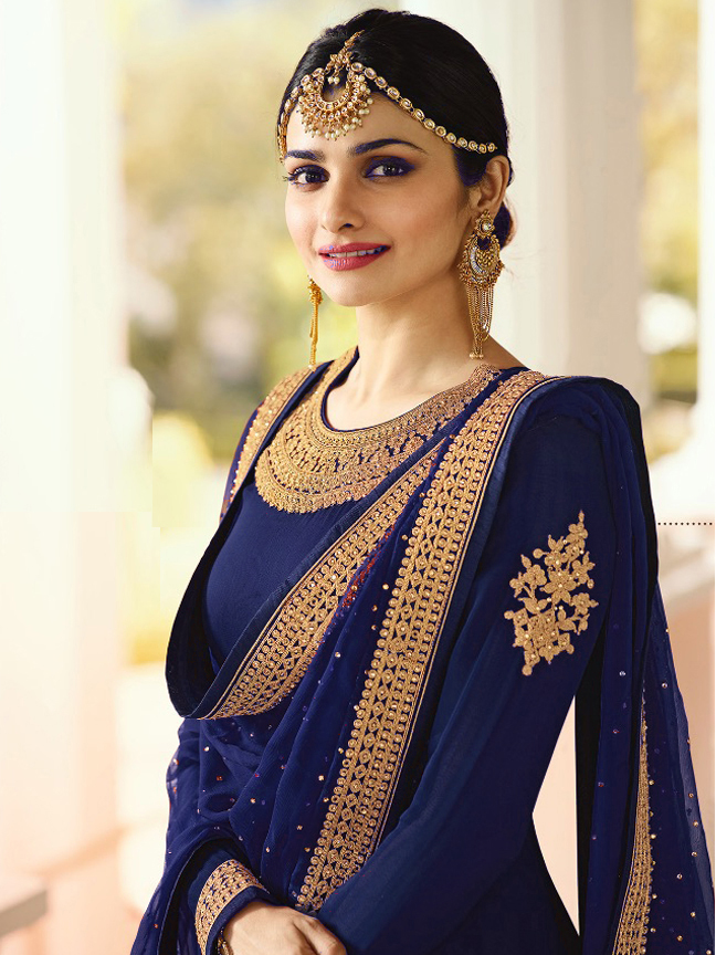 Prachi Desai Designer  Faux Georgette  Blue Heavy  Embroidered  Salwar Suit