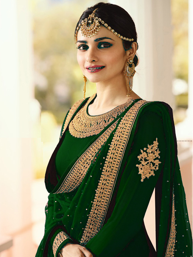 Prachi Desai Designer Faux Georgette Green Heavy Embroidered Salwar Suit
