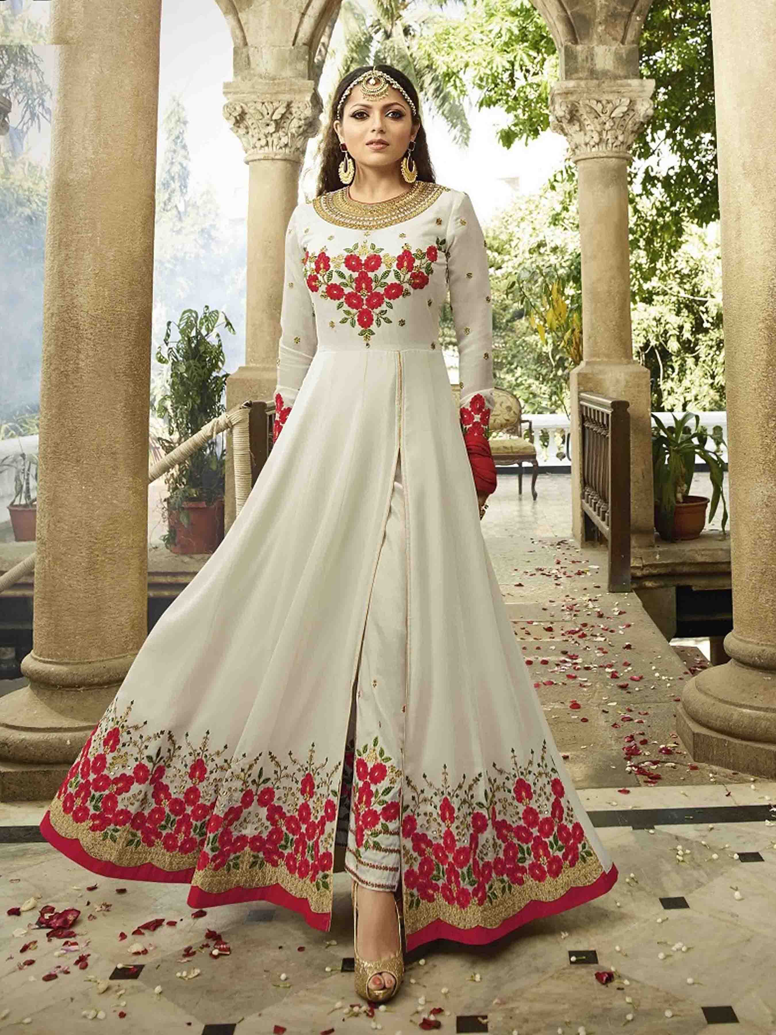 Drashti Dhami Designer Faux Georgette White Heavy Embroidered Salwar Suit