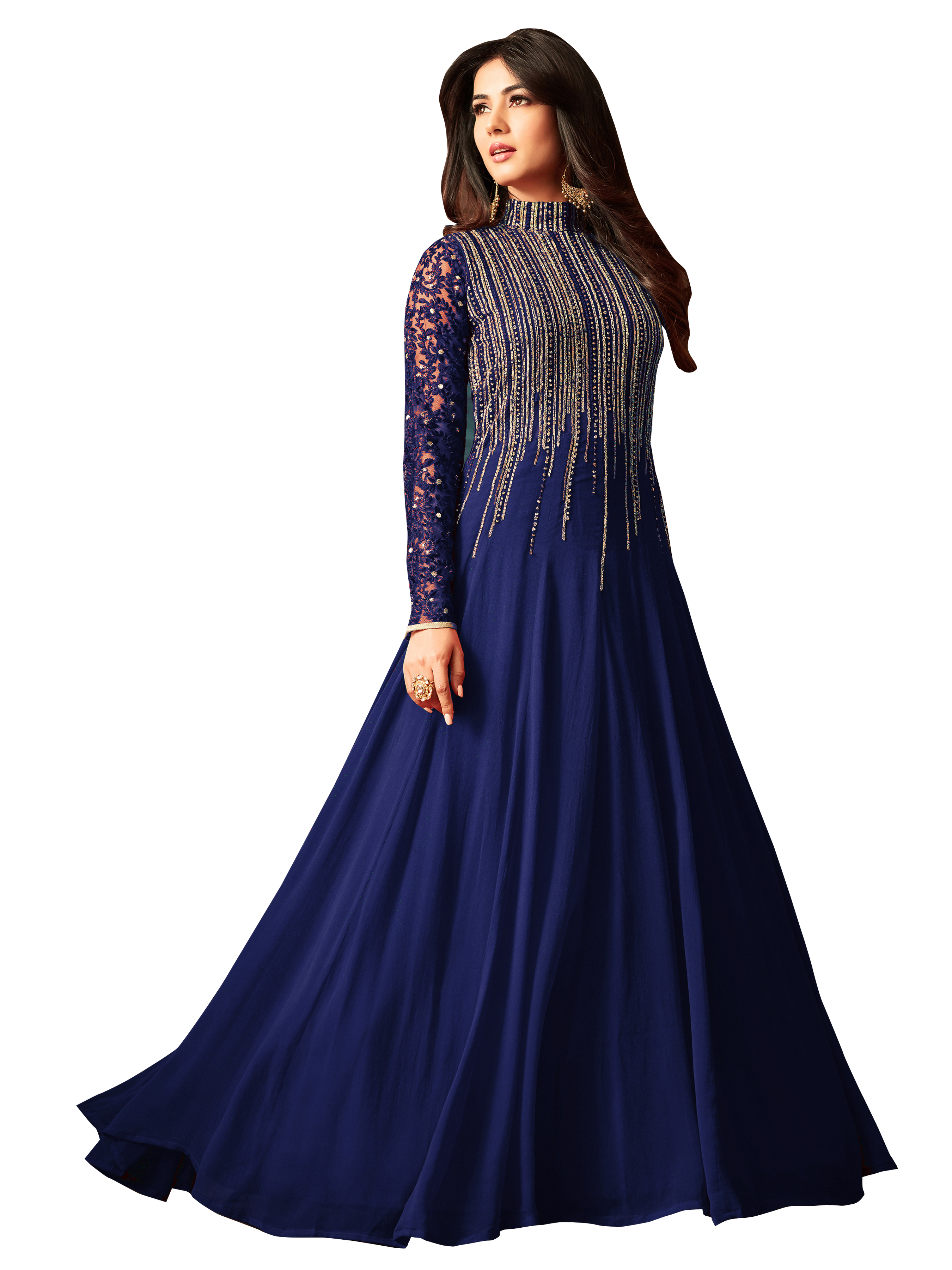 Sonal Chauhan Designer Georgette Embroidered Semi Stitched Long Anarkali Suit