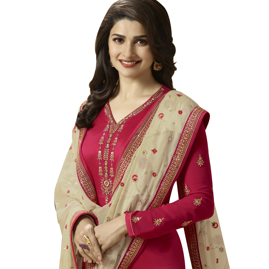 Prachi Desai Peach Georgette Churidar Suit With Santoon Dupatta