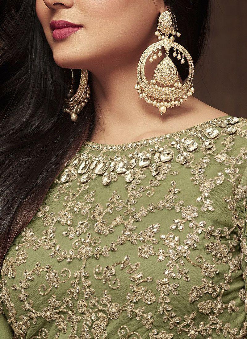 Green Party Wear Embroidery Anarkali Suit Nylon Net