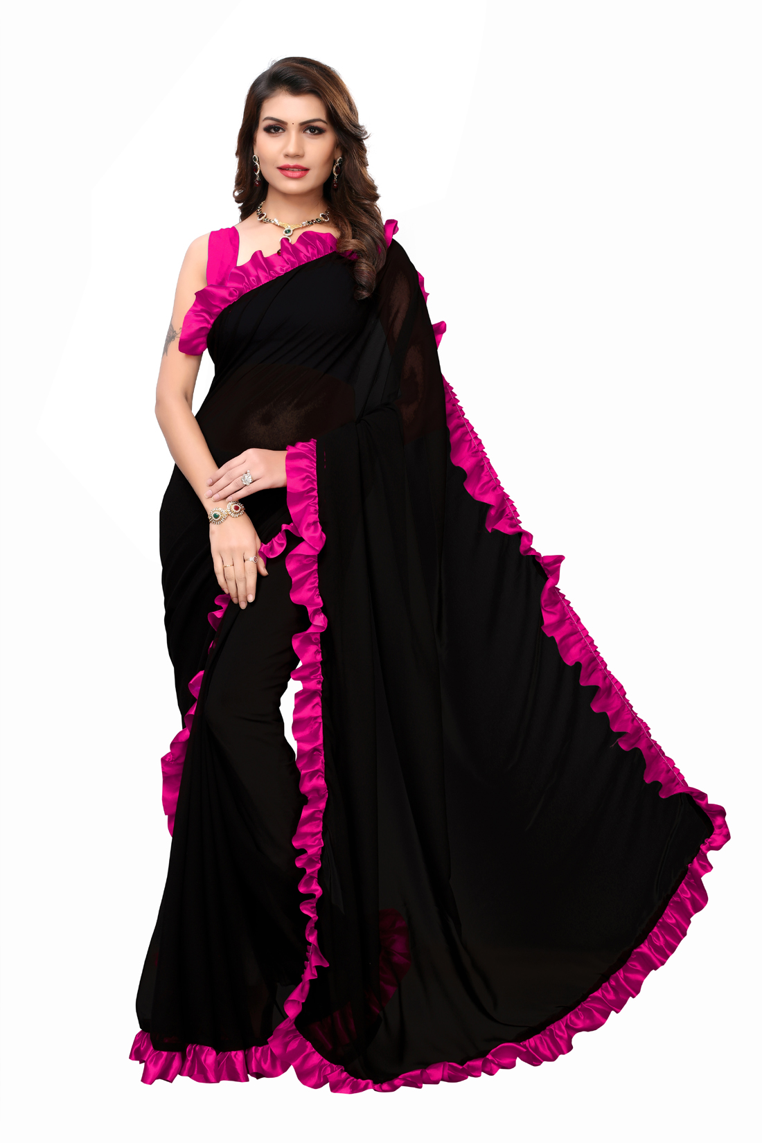 Desinger Yellow And Black Georgette Ruffle Saree 2019