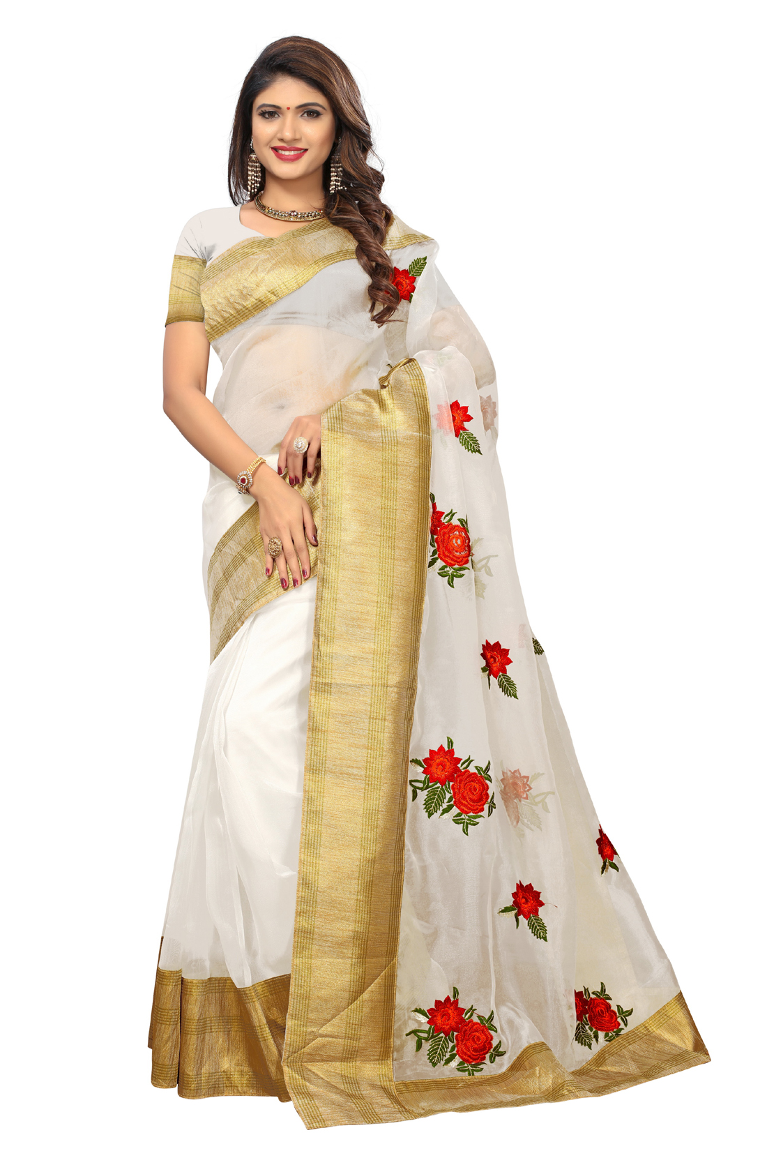 Latest Grey Embroidered Poly Net Saree With Blouse