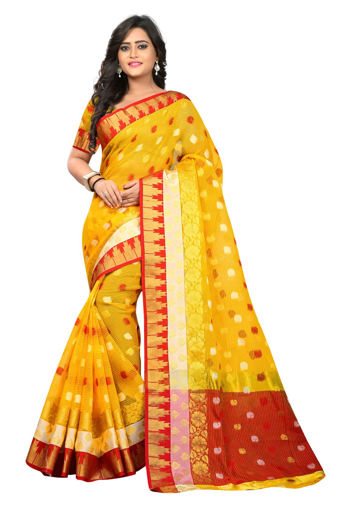 Latest Yellow Jacquard Saree With Blouse